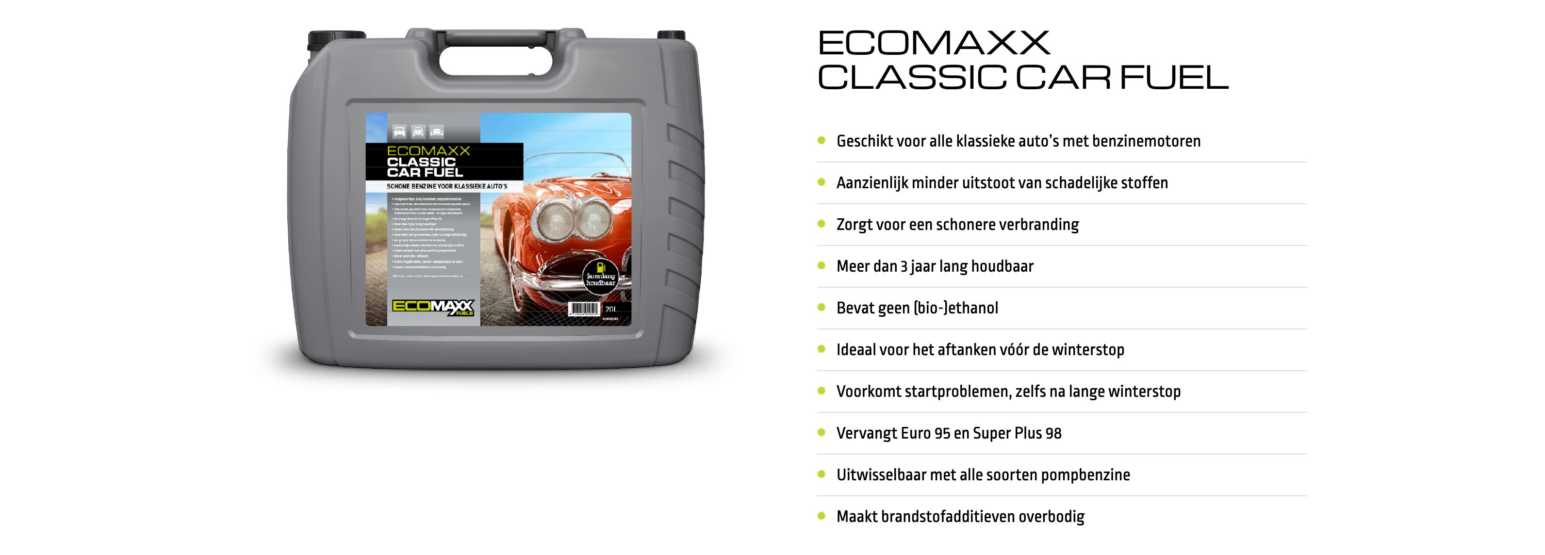 ecomaxx brandstof voor oldtimer autos